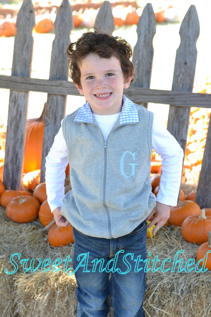 Monogrammed Boys blue and gray gingham vest