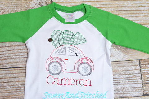 Boys Christmas shirt (raglan) with vintage car and tree design monogrammed