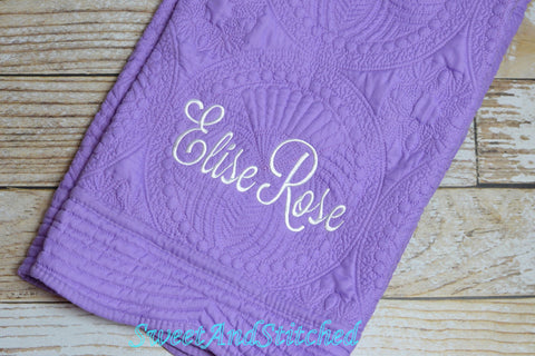 Monogrammed quilt purple and white, Baby Quilt