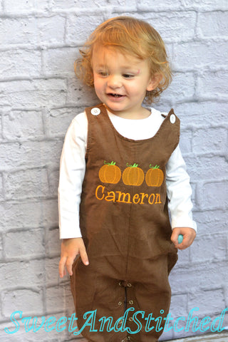 Personalized Baby Boy pumpkin outfit - Boys Thanksgiving Outfit, baby boy fall longall
