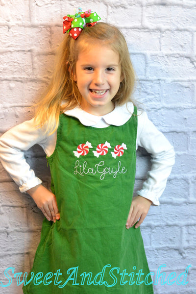 Girls candy cane Christmas dress - Monogrammed Christmas outfit- Corduroy Christmas jumper dress - baby girl christmas outfit