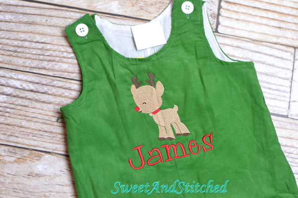 Monogrammed corduroy Christmas overalls or romper with your choice of design, name or monogram