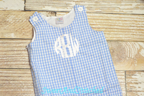 Baby Boy Easter outfit in blue gingham - Boys monogrammed Easter Outfit, Easter overalls