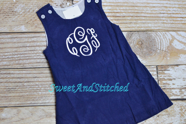 Monogrammed Corduroy Jumper dress in navy and white, Girls personalized dress for holidays