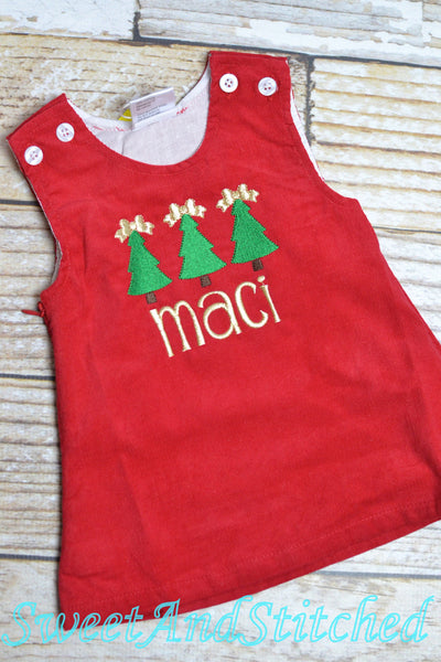 Monogrammed Christmas dress with holly design, Corduroy Christmas jumper dress