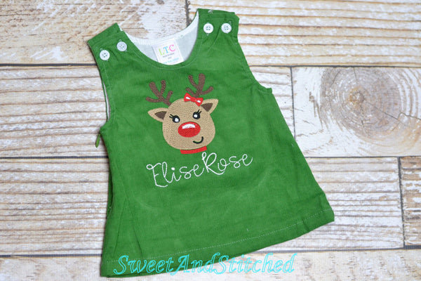Girls Reindeer dress - Monogrammed Christmas Dress - Corduroy Christmas jumper dress - baby girl christmas outfit