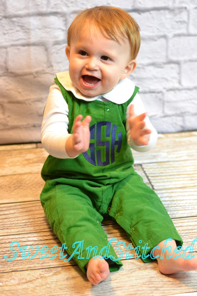 Monogrammed corduroy overalls or romper with your navy monogram, baby boy holiday outfit