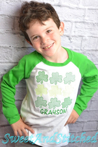 Boys St. Patrick's Day shirt (raglan) with vintage stitch four leaf clovers