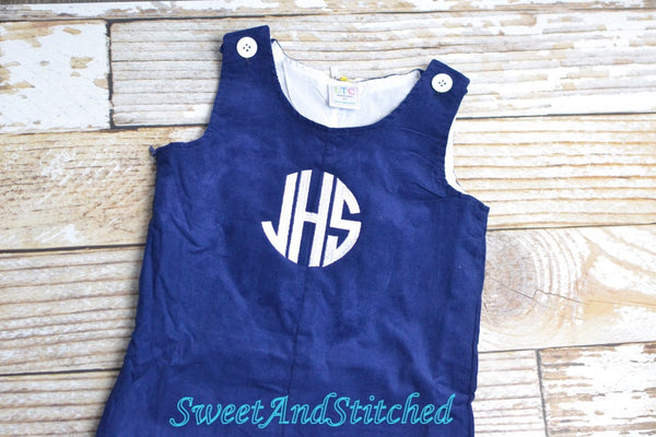 Monogrammed corduroy overalls or romper in navy with white monogram, baby boy holiday outfit