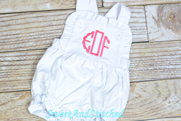 Monogrammed baby girl ruffle bubble, baby sunsuit