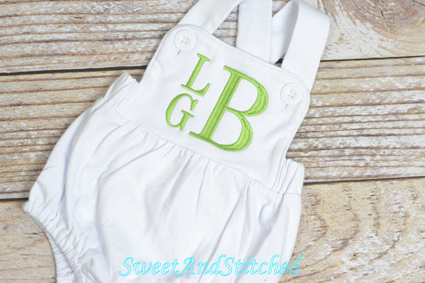 Monogrammed boys easter outfit with bunnies and name, baby dedication or baptism outfit with crosses