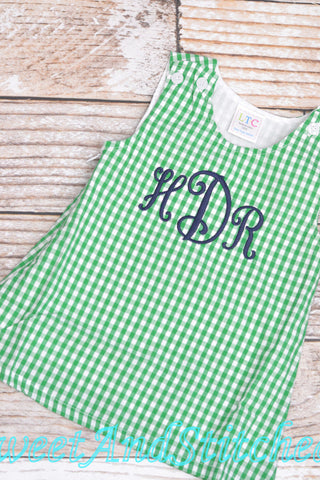 Girls monogrammed St. Patrick's day outfit, jumper style toddler Easter outfit, baby girl monogrammed green gingham jumper dress