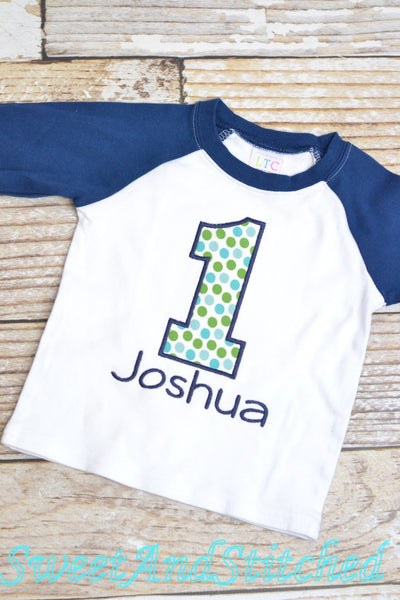 Boys First (1st) Birthday Shirt or tee, Personalized Raglan Birthday shirt with name and number - Baby Boy Cake Smash Outfit