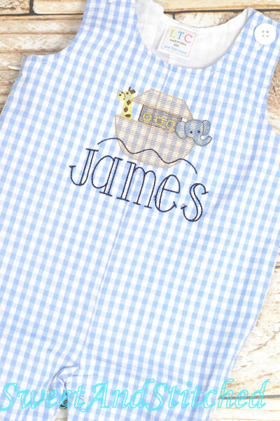 Personalized Baby Boy Noah's Ark outfit - Baby Boy Easter Outfit, church outfit