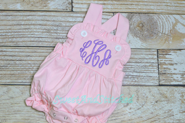Monogrammed baby girl sun suit, girls cross backed bubble
