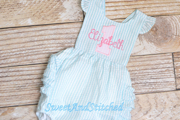 Monogrammed baby girl birthday bubble romper, 1st birthday outfit