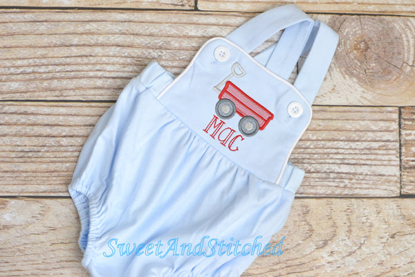 Monogrammed baby boy bubble with wagon design and name, monogrammed boys romper