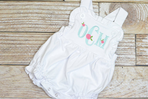 Monogrammed baby girl ruffle bubble with rosebuds, girls monogrammed outfit