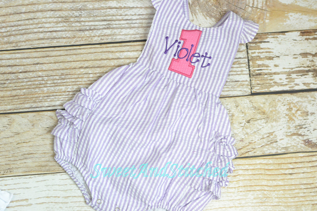 Monogrammed baby girl birthday bubble, birthday romper