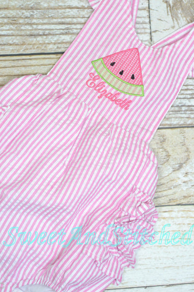 Monogrammed baby girl ruffle bubble with watermelons in pink and aqua, summer watermelon outfit