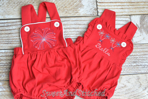 Girls 4th of July monogrammed outfit, Sibling 4th of July outfits with sparkler design