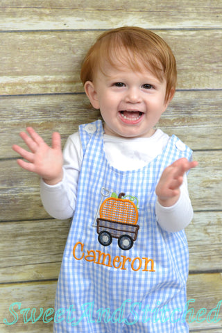 Personalized Boys Pumpkin outfit with pumpkin wagon design and name - Baby Boy fall, halloween