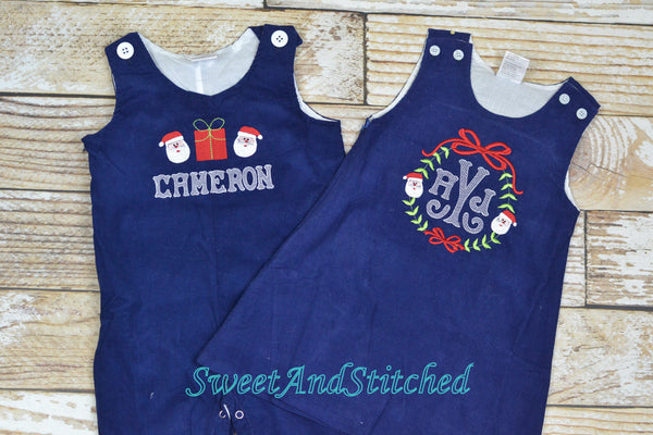 Monogrammed Corduroy Christmas dress in navy with santa monogram, Girls personalized Christmas dress