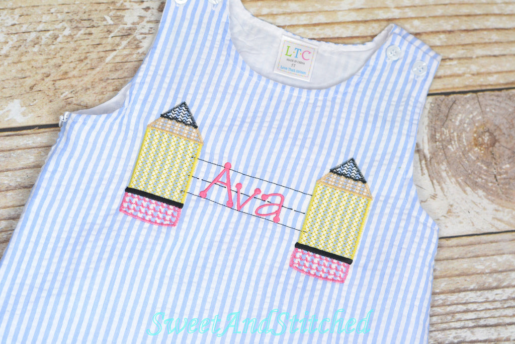 Monogrammed Back to School dress with name and pencil design, back to school dress