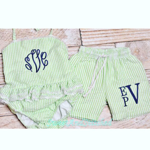 Boys and Girls Monogrammed Seersucker Swimsuits, toddler sibling matching swimsuit