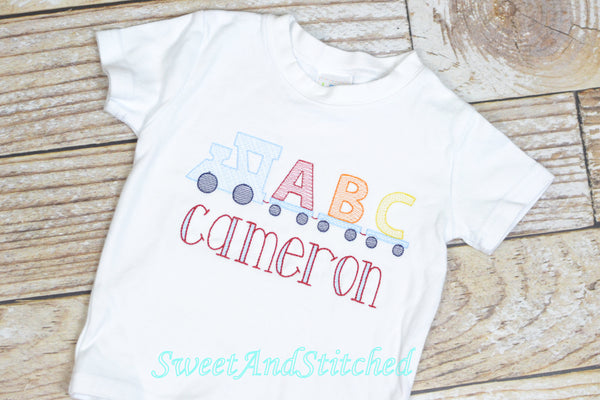 Monogrammed Boys Back to School Shirt, vintage style back to school tee with ABC train design