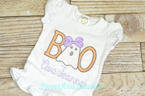 Girls Boo Halloween Shirt or Tee personalized,