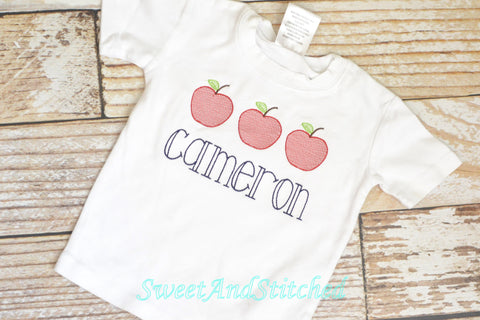 Monogrammed Boys Back to School Shirt with vintage apples design and name