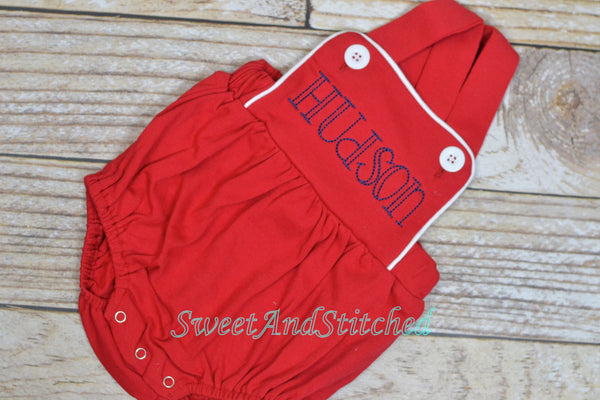 Boys 4th of July monogrammed outfit, boys 4th of July bubble romper with name