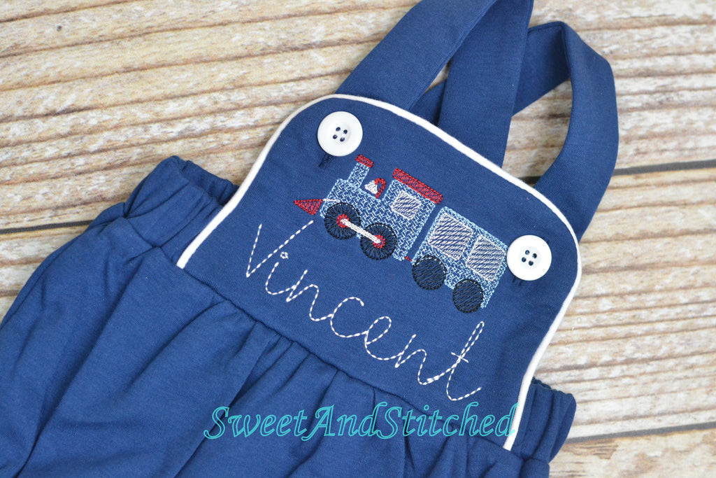 Monogrammed baby boy train outfit, monogrammed boys romper
