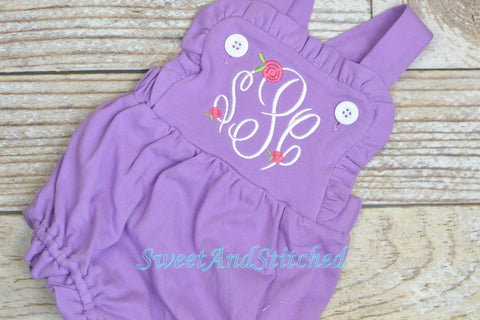 Monogrammed purple baby girl ruffle bubble with rosebuds, girls monogrammed outfit