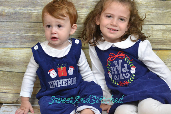 Monogrammed Corduroy Christmas dress in navy with trees design, Girls personalized Christmas dress, coordinating sibling Christmas outfits