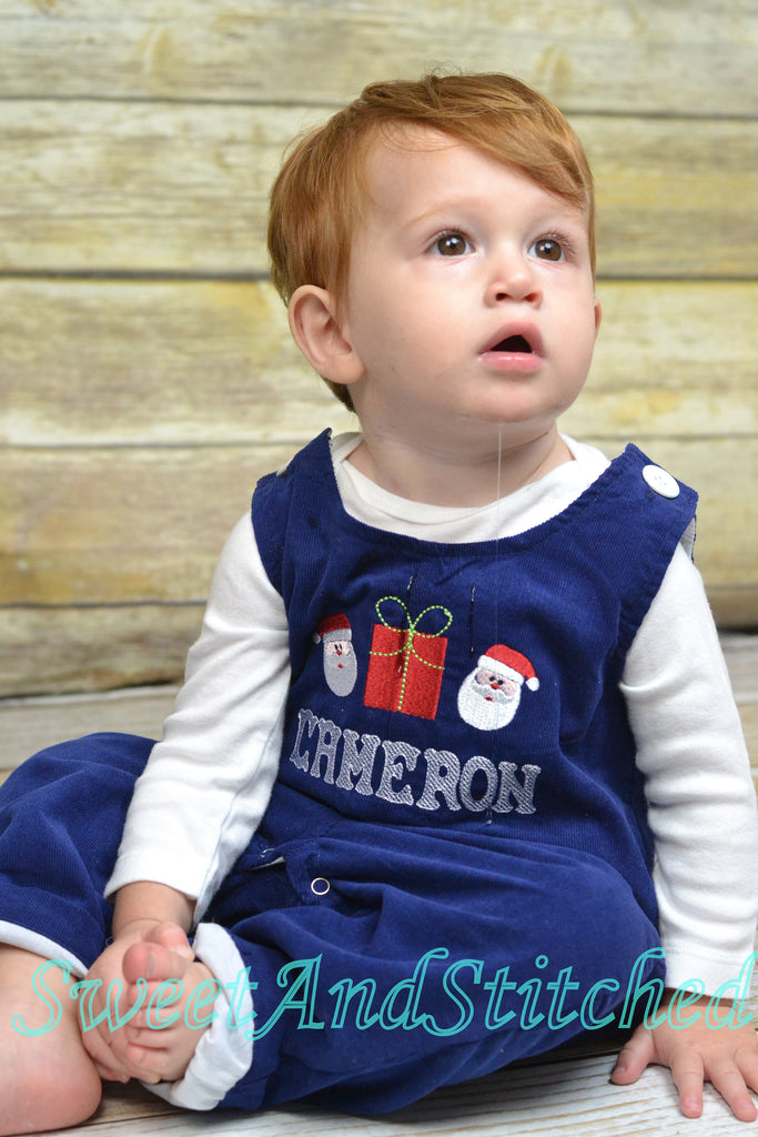 Baby boy Christmas outfit, Toddler Boys Christmas overalls