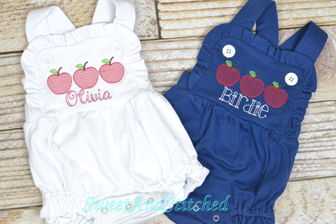 Monogrammed baby girl back to school outfit, monogrammed girls apple back to school bubble romper