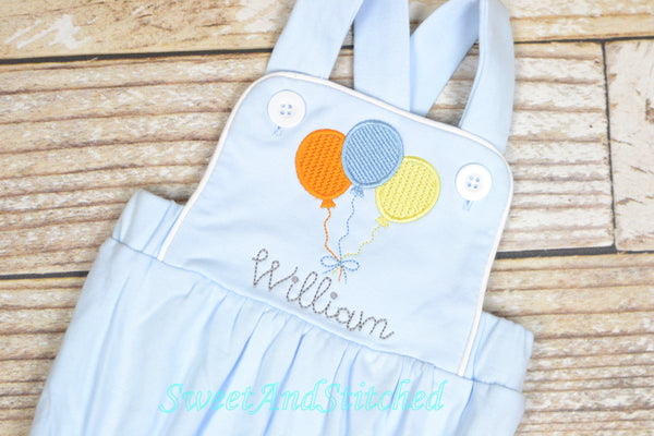 Monogrammed baby boy Birthday romper, personalized boys bubble