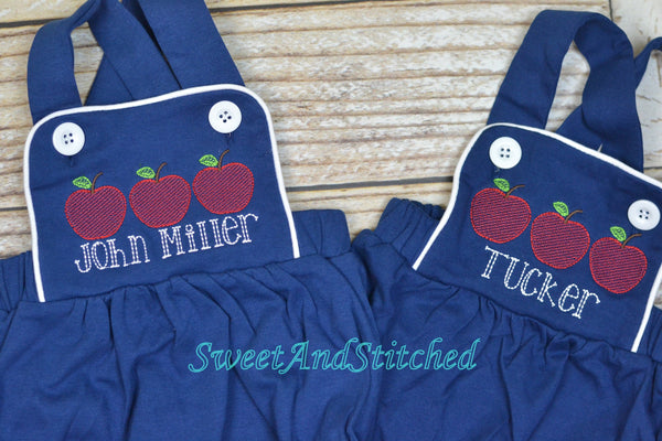 Monogrammed baby boy back to school outfit, monogrammed boys apple back to school bubble romper