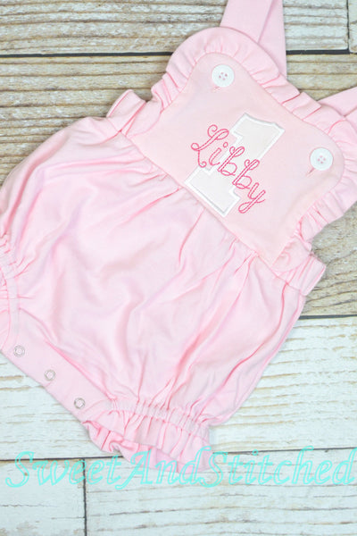 Monogrammed girls birthday outfit with number and name, girls birthday bubble cake smash outfit
