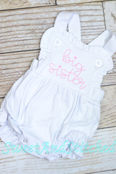 Monogrammed big sister outfit, girls cross backed bubble