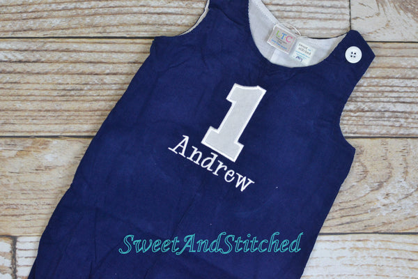 Monogrammed corduroy birthday outfit in navy with number and name, boys winter wonderland 1st birthday outfit