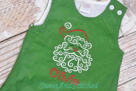 Girls Santa dress - Monogrammed Christmas Dress - Corduroy Christmas jumper dress - baby girl 1st christmas outfit