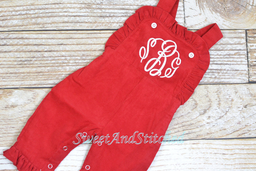 Baby girl monogrammed Christmas outfit, Red Ruffle Christmas overalls