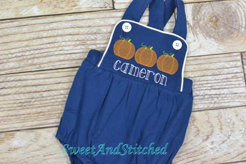 Monogrammed baby boy pumpkin outfit, monogrammed boys fall halloween thanksgiving outfit