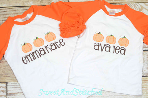 Girls Monogrammed Pumpkin Shirt, toddler pumpkin tee