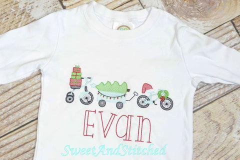 Personalized Boys Christmas Shirt with Christmas parade design, boys Christmas Shirt