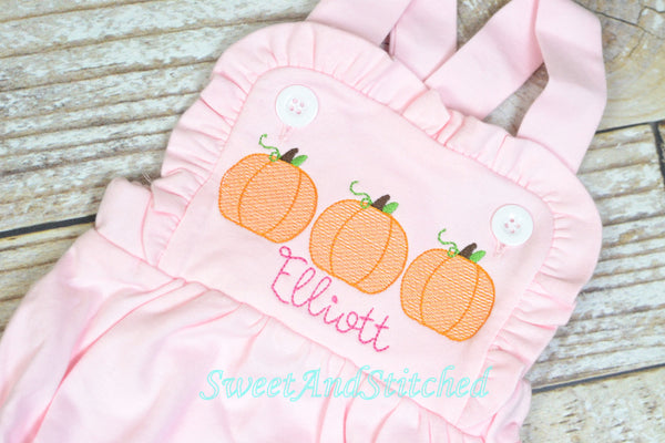 Monogrammed girls pumpkin outfit, girls pumpkin birthday bubble cake smash outfit