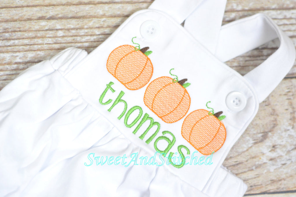 Monogrammed boys pumpkin romper, Boys fall or halloween outfit with pumpkins